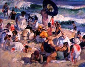 Crowded Day at the Beach 1922 Martha Walter (1875-1976/ American) Oil on Board David David Gallery, Philadelphia