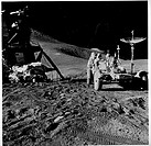 Astronaut James B  Irwin, Lunar Roving Vehicle, Apollo 15 Mission, 1971