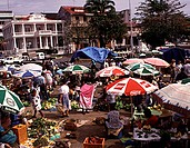 Group of people in a market, Pointe_A_Pitre, Guadeloupe