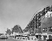 Low angle view of a rollercoaster, Coney Island, Brooklyn, New York City, USA
