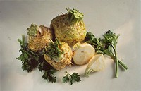 Three Whole Celeriac, One Cut in Half