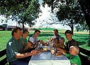 German family having afternoon snack under trees in field