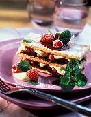 Raspberry puff pastry slice with vanilla mousse