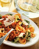 Tri-Colored Farfalle with Tomato Sauce and Shaved Parmesan