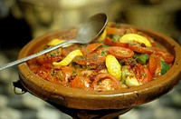 Vegetable tajine in terracotta container