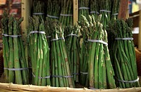 Bundles of Green Asparagus at the Farmer´s Market
