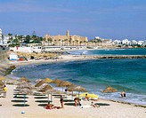 Beach with the Ribat (monastery-fortress) in background. Monastir. Tunisia