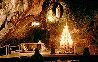 Massabielle Cavern, the place where Bernadette Soubirous had her visions of the Virgin Mary. Lourdes. France