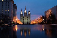 The Mormon Temple at Christmas. Salt Lake City. Utah. USA