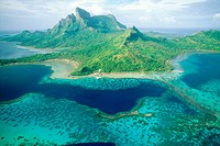 Aerial view of the island and lagoon. Bora-Bora. French Polynesia