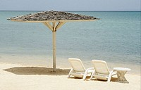 deckchairs on the beach, Montego Bay, Jamaica,Caribbean