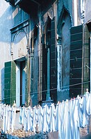 Drying laundry along canal. Venice. Italy