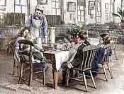CREDIT: SHEILA TERRY/SCIENCE PHOTO LIBRARY Childrens´ ward. Historical artwork of mealtime on achildren´s ward at Mildmay Mission Hospital, London, En...