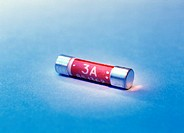 Electrical fuse. Three-amp (short for ampere) fuse that is designed to protect electrical devices and people from excessive amounts of electricity. Wh...