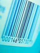 Bar code. View of a bar code label. Bar codes are used to label products and store information such as what the product is or how much it costs. The d...