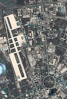 Baghdad airfield. Satellite image of the Al Taji airfield in Baghdad, the capital of Iraq, during the spring 2003 invasion. The main runway is down le...