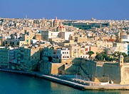 Valletta, view of Senglea from upper Barracca Gardens. Malta