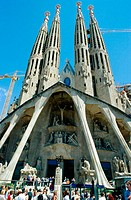 Passion facade of the Sagrada Familia temple by Gaudí. Barcelona. Spain