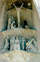 Sculptures by Josep Maria Subirachs at the Passion facade of the Sagrada Familia temple by Gaudí. Barcelona. Spain