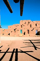 Morning light on the 3-story adobe North House (World Heritage Site), Taos Pueblo, New Mexico, USA