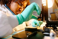Medical technician at microscope in lab