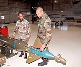 GBU-10 Laser Guided Smart Bomb for F-16. This bomb seeks out unique pulse pattern of a high intensity laser beam (cost 120,000)