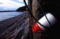 Buoy and beah. Decatur Island .Washington. USA