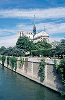 Notre Dame cathedral from Seine River (back view). Paris. France