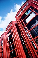 Telephone booths. London. England