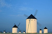Windmills at the village Campo de Criptana. Ciudad Real province. Spain