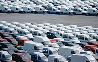Automobiles parked at Port of Pasajes. Guipuzcoa. Spain