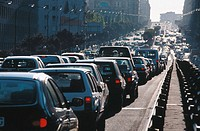 Traffic jam at Raimundo Fernández Villaverde street. Madrid. Spain