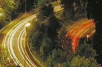 Night traffic at highway to San Sebastian. Guipuzcoa. Spain