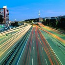 Night traffic at M-30 freeway. Madrid. Spain