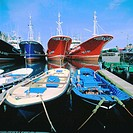 Boats at fishing port of Guetaria. Guipuzcoa. Spain