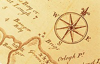 Compass rose on 18th century map