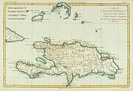 Greater Antilles. Hispaniola Island, 18th century map