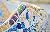 Detail of the bench that goes around the upper terrace of the Park Güell, by Gaudí. Barcelona. Spain