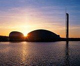 Sunset over Science Centre. Glasgow. Scotland