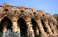 Columns at Güell Park (Gaudí, 1900-1914). Barcelona. Spain