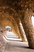 Colonnade at Güell Park (Gaudí, 1900-1914). Barcelona. Spain