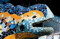 The Dragon that guards the entrance to Güell Park (Gaudí, 1900-1914). Barcelona. Spain