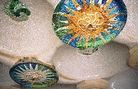 Mosaics on the ceilings at the Güell Park (Gaudí, 1900-1914). Barcelona. Spain