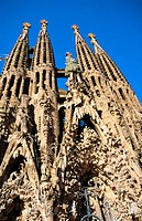 Facade of the Sagrada Familia, Church of the Holy Family (Gaudí, 1883-...). Barcelona. Spain