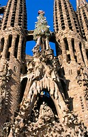 Detail of the 'Birthday facade' of the Sagrada Familia, Church of the Holy Family (Gaud&#237;, 1883-...). Barcelona. Spain