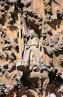 Detail of the 'Birthday facade' of the Sagrada Familia, Church of the Holy Family (Gaudí, 1883-...). Barcelona. Spain