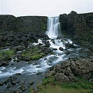 Oxararfoss Waterfall. Pingvellir National Park. Iceland