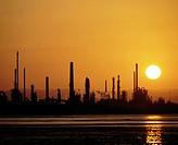Oil refinery at sunset. Scotland