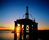 Semi-submersible oil rig at sunset. Dundee. Scotland