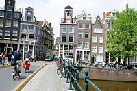 Bridge across Singel canal. Amsterdam. Holland